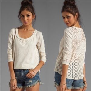 Free People Tops - Free People Patches of Lace Crochet Back Henley S